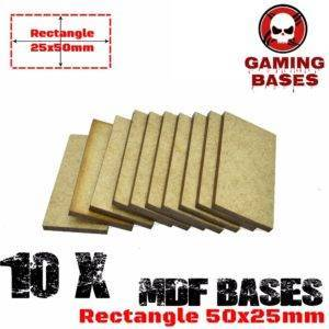 10Pcs Rectangular 50x25mm MDF Bases Laser Cut Wargames wood