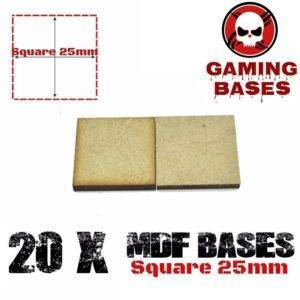 20Pcs 25mm MDF Square bases Laser cut wood Warhammer 40K MDF Square