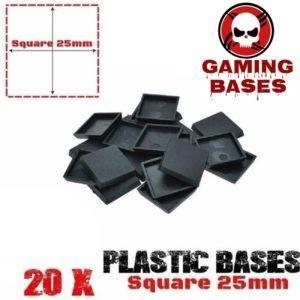 20Pcs 25mm square miniature plastic base warhammer 40k 25mm