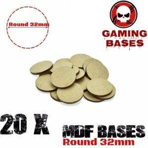 Lot 20Pcs 32mm MDF round bases wargame WH 40K Laser cut wood