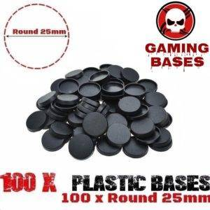 Lot 100 Pcs 25mm plastic miniature round bases wargames warhammer