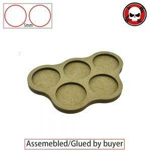 Gaming bases 5 bases x 32mm round movement Tray derangements Shape 5mm