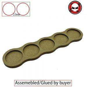 Gaming bases 5 bases x 32mm round movement Tray line Shape