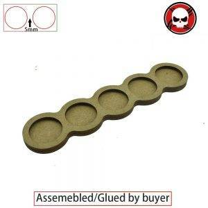Gaming bases 5 x 25mm round movement Tray Derangements Shape