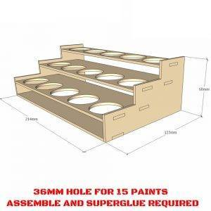 36mm Hole -Citadel 15 Paints Rack -Laser Cut Wood MDF Paints Storage