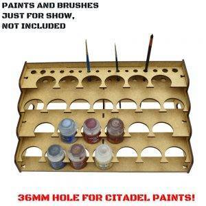36mm Hole – Citadel 26 Paints Rack – Laser Cut Wood – MDF Paints Rack 36mm Hole Type: 3MMTHICKNESS