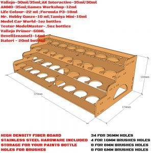 36mm Hole – 34 Citadel Paint Rack-Laser Cut Wood – MDF-Paints Storage 36mm Hole Type: 3MMTHICKNESS