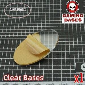 TRANSPARENT-CLEAR BASES for Miniatures wargame oval 60x35mm 60x35mm color: 1 bases|10 bases|20 bases|30 bases|5 bases