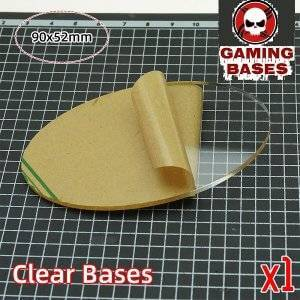 TRANSPARENT/CLEAR BASES for wargame oval bases 90x52mm 90x52mm Color: 1 bases