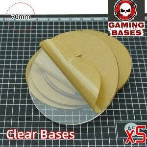 70mm round TRANSPARENT / CLEAR BASES for Miniatures wargame 70mm Color: 5 bases