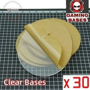 70mm round TRANSPARENT / CLEAR BASES for Miniatures wargame 70mm Color: 30 bases