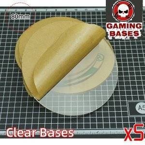 80mm round TRANSPARENT / CLEAR BASES for Miniatures wargame 80mm Color: 5 bases