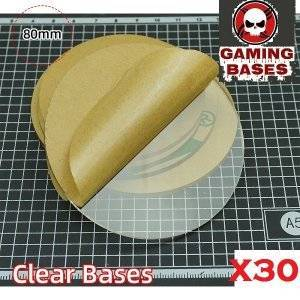 80mm round TRANSPARENT / CLEAR BASES for Miniatures wargame 80mm Color: 30 bases
