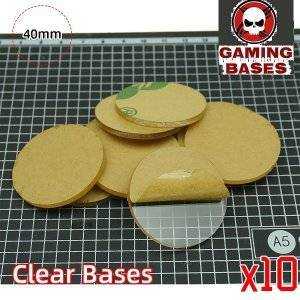40mm Round clear bases TRANSPARENT / CLEAR BASES for Miniatures 40mm Color: 10 bases