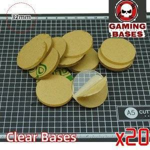 32mm Round clear bases -TRANSPARENT -CLEAR BASES for Miniatures 32mm color: 10 bases|20 bases|30 bases|40 bases|5 bases|50 bases