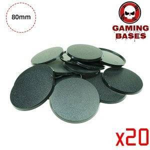 Gaming bases- 80mm round bases 80mm Color: 20 bases