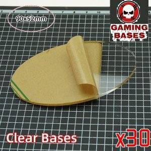 TRANSPARENT/CLEAR BASES for wargame oval bases 90x52mm 90x52mm Color: 30 bases