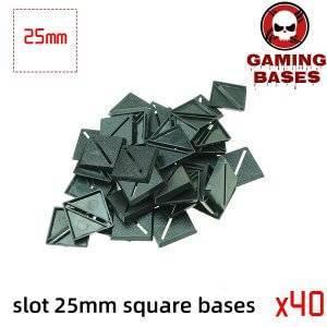 Slot bases 25mm square base 25mm Color: 40
