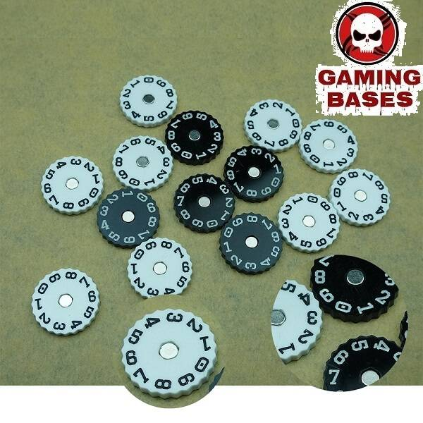 GamingBases World – Wound Counter – dial plate 20mm-00-99 color: Black|White